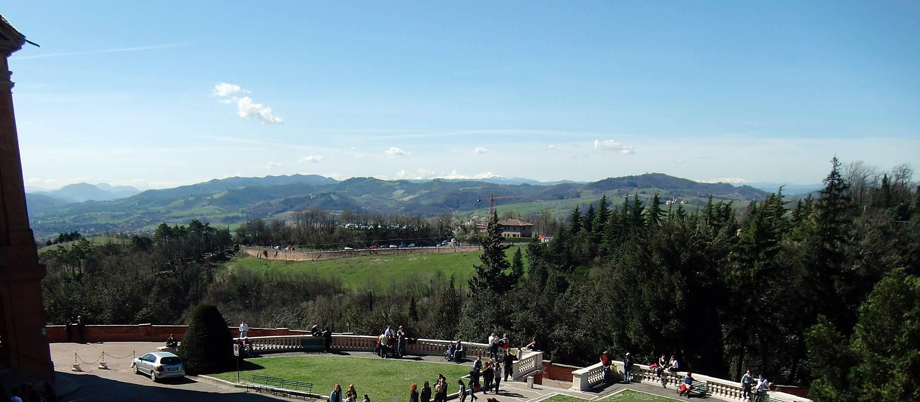 Blick beim Pilgern in Bologna